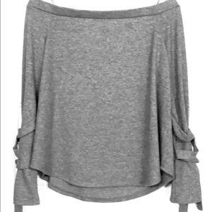 Grey Off the Shoulder long sleeve top